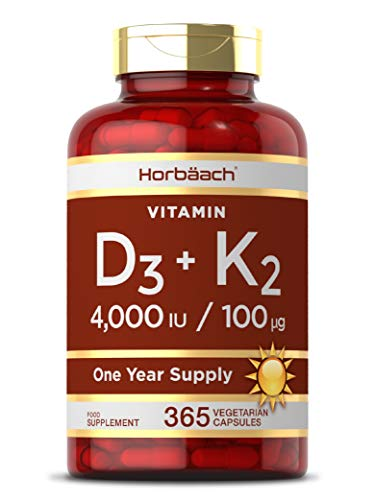 Vitamin D3 4000IU + K2 MK7 100ug | 365 Capsules | High Strength Immune Support | & for Healthy Bones, Teeth & Muscles | Non-GMO, Gluten-Free & Vegetarian Supplement