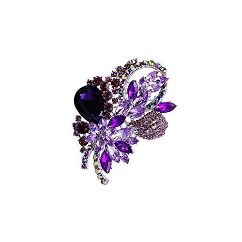Diamante De Cristal Flor Broche Flor Traje Broches Mujeres Rhinestone Joyería Accesorios De Ropa
