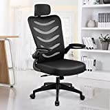 ComHoma Office Chair Ergonomic High Back Executive Adjustable Mesh Computer Chair with Flip-Up Armrests Adjustable Headrest Black,