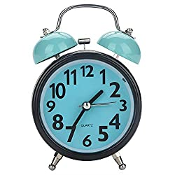 Double Bell Alarm Clock ,Bedside Non Ticking Silent Quartz Loud Twin Bell Alarm Clock, Noisy Quartz Movement Desk Table Night Watch, Battery Operated, Best Home Decororations(Blue)