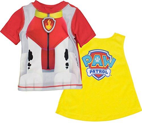 Nickelodeon Paw Patrol Marshall Little Boys Rash Guard Swim Shirt & Caped Towel Set 7