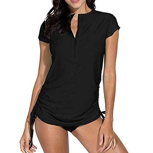 YEBIRAL Damen Bademode Rash Guard UV Shirts Kurzarm 1/4 Zip Surf Shirt Schwimmen Tankini Badeshirts UPF 50+(M,Schwarz)