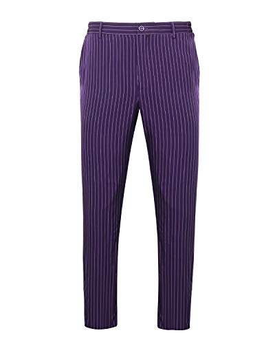 NUWIND Herren Jokerhose The Dark Knight Joker Hose Deluxe Kostüm Straight-Fit Anzug Streifenhose für Halloween Cosplay Party - lila (L)