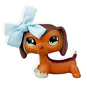 Pet Shops Littlest LPS Popular Brown DachshundReed #675 Blue Bowknot