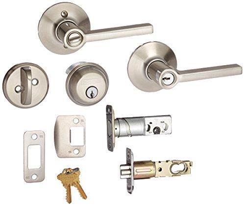 Deadbolt, Keyed 1 Side, and Latitude Lever Security Set (Satin Nickel) FB50VLAT619