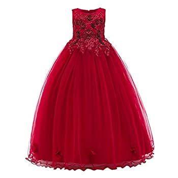 Children Girls Birthday Party Wedding Dress 6-16 Years Old Teen Flower Pageant Gown Long Evening Dress  13-14 Years Old Red