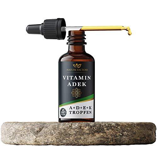 Vitamin D3 K2 und A E Tropfen mit Öl (30 ml) Vitamin D3 und K2 für Immunität und starke Knochen Vitamin A und E Komplex für die Gesundheit von Haut, Haar, Nägel Nature Factors Vitamin ADEK