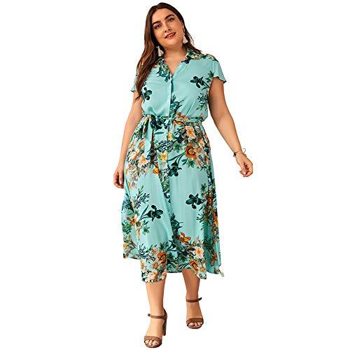 Vestido Largo Mujer Talla Grande Moda Bolsillo Top Falda para Fiesta Verano Manga Larga Floral Estampada Vestido Verde Cuello Camiseta