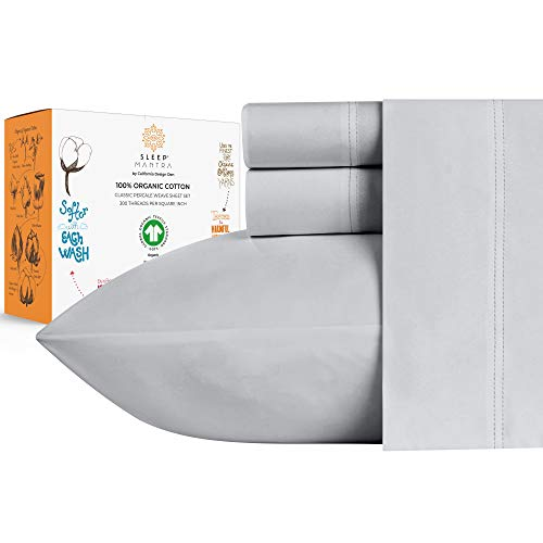 100% Organic Cotton Sheets - Crisp and Cooling Percale Weave, GOTS Certified 4 Piece Bedding Set, Deep Pocket with All-Around Elastic (Queen, Light Grey)