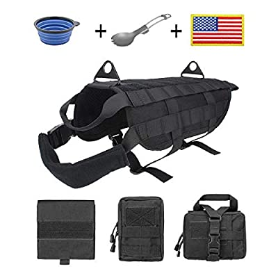 EJG Military Tactical Service Dog Training Vest Molle Dog Harness Camping Hiking Traveling Nylon Adjustable Coat with 3 Detachable Pouches For Medium & Large Dog