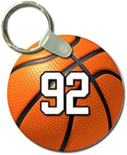 TYD Designs Key Chain Sports Basketball Customizable 2 Inch Metal and Fully Assembled Ring with Any Team Jersey Player Number