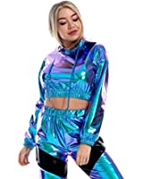 Women's Shiny Crop Top Hoodie, Casual Long Sleeve Hooded Pullover Workout Sweatshirt Clubwear (Blue, M)
