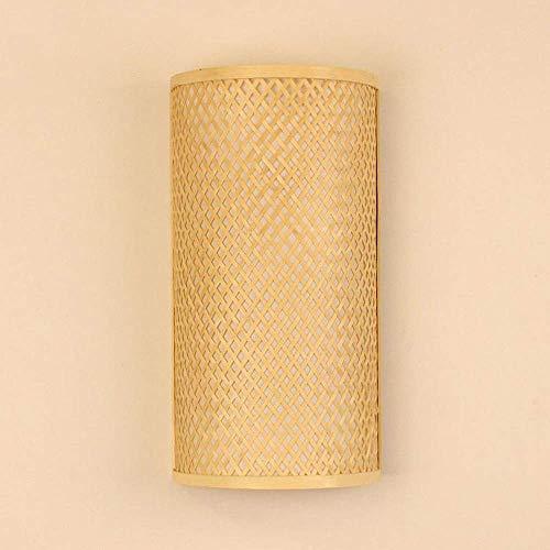Bambú De Mimbre Apliques De Pared Apliques Rústico Dormitorio De Luz Corredor Junto A La Cama 2 Luces E27 Aplique De Apliques Edison Aplique De Pared Decoración De Linterna