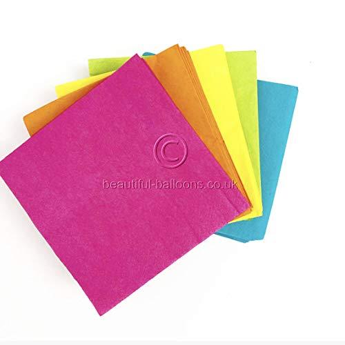 100 x Colourful Neon Luncheon Napkins