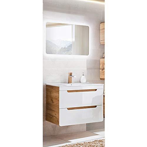 Lomadox Badmöbel Waschplatz Set Hochglanz weiß, Wotaneiche mit 80cm Waschtisch-Unterschrank mit Keramik-Waschbecken & LED-Spiegel