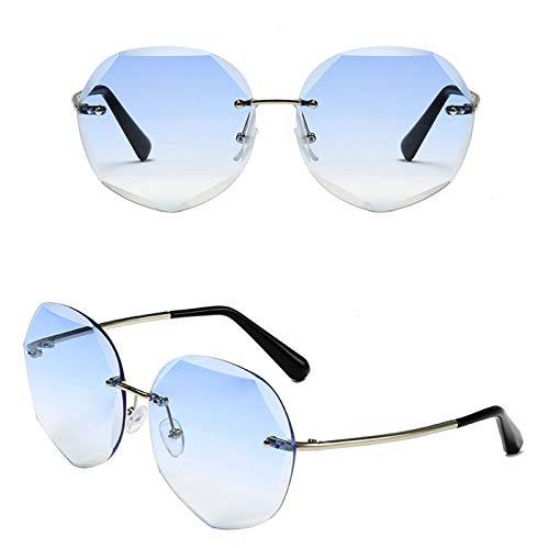 Ashtray Gafas de Sol graduadas para Mujer, Gafas de Sol sin Montura de Metal con Bordes Cortados, adecuadas para Conducir, Correr, Andar en Bicicleta, Viajar, etc,4