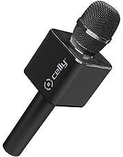 Micrófono Karaoke Bluetooth con Altavoz Incorporado, Celly KARAOKEBK 3W Inalámbrico Permite Cantar y Reproducir música al Mismo Tiempo conectándolo al Smartphone o PC. Negro