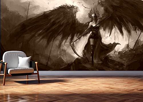 Vlies Tapete Poster Fototapete Fantasy Dunkle Mächte schwarze Kriegerin Sense Farbe sepia, Größe 200 x 100 cm selbstklebend