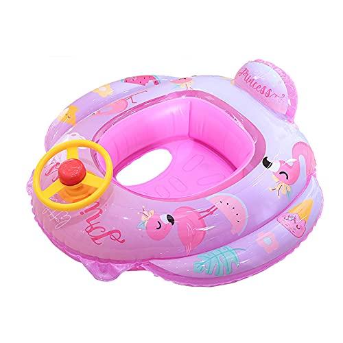 浮き輪 子供用 ハンドル付き 可愛いプリント ベビーフロート 足入れ 幼児 キッズ 男の子 女の子 海 プール 水遊び アウトドア ブルー