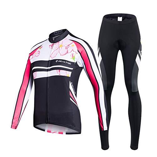 VIVOSUN Radtrikot Damen Set Fahrradbekleidung Frühling Herbst Fahrradtrikot Langarm und Radhose mit 3D Sitzpolster Rosa- Gr. XXL