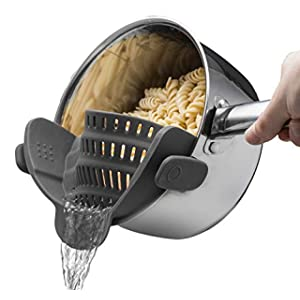Kitchen Gizmo Snap N Strain Strainer - Gray - Patented Clip On Silicone Colander - Fits all Pots and Bowls
