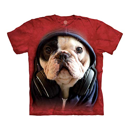 The Mountain Dj Manny The Frenchie Adult T-Shirt, Red, 5XL
