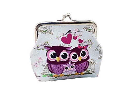 Ularma Damen Geldbörse Vintage PU Leder Brieftasche Eule Handtasche Mini Tasche (A)