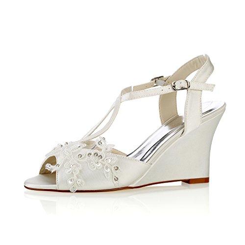 Emily Bridal  Spitze Hochzeitsschuhe  Peep Toe Blumen Detail Wedge Schuhe Knöchelriemen Brautschuhe, 39 EU, Elfenbein