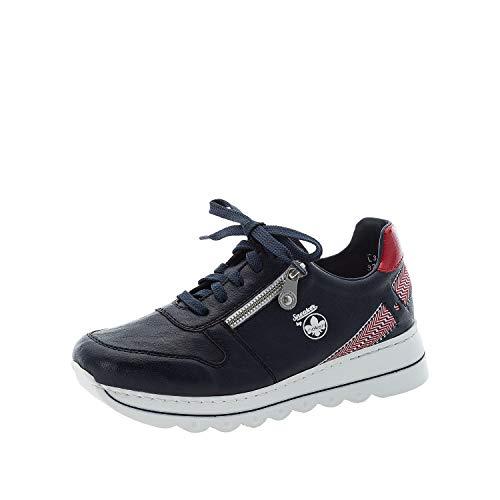 Rieker Damen Low-Top Sneaker L3334, Frauen Halbschuhe,lose Einlage,Freizeitschuhe,weiblich,Lady,Ladies,Women's,Woman,schnürer,blau (14),37 EU / 4 EU