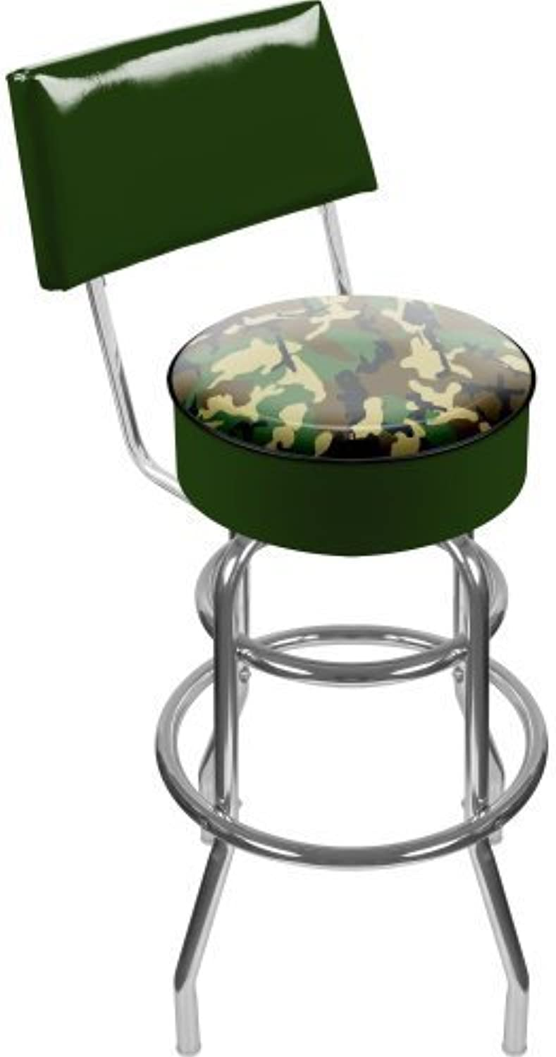 Hunt Camo Padded Swivel Bar Stool with Back by Trademark Gameroom