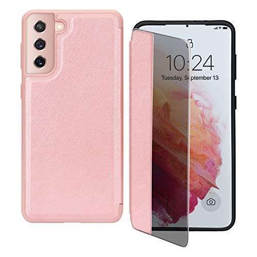 Capa flip FYY para Galaxy S21+ Plus 6,7 polegadas, capa magnética fina flip para celular com proteção contra quedas e à prova de choque com função de visualização de janela para Samsung Galaxy S21+ Plus 6,7 polegadas, Cor-de-rosa