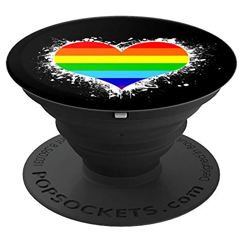 Cool CSD & LGBT Rainbow Flag Heart Love Gift |-Lesbian & Gay PopSockets Grip and Stand for Phones and Tablets