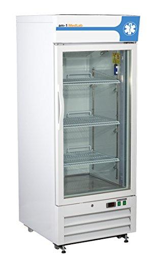 am-1 AM-LAB-1D-RGE-12 MedLab Essential Glass Door 12 cu. ft. Medical/Laboratory Refrigerator, White
