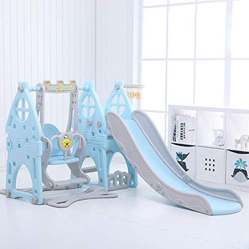 GLY Tobogan Infantil Tobogan Niños Jardin Columpios Infantiles Exterior Tobogan 3 En 1 Slide Set De Juego, Aro De Baloncesto, Fácil Subir Escaleras, Juguetes For Niños For Niños Pequeños De 2 Años