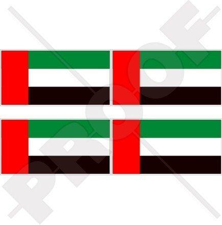 VEREINIGTE ARABISCHE EMIRATE Flagge, Fahne VAE Dubai, Abu Dhabi 50mm Auto & Motorrad Aufkleber, x4 Vinyl Stickers