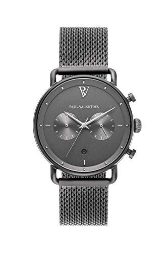 PAUL VALENTINE ® Herrenuhr mit Mesh Armband aus hochwertigem Edelstahl - Mit Saphirglas - 40 mm Durchmesser - Edle Herren Uhr mit japanischem Quarzwerk - Armbanduhr für Herren (Ash)