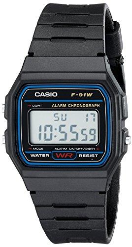 CASIO F91W-1 - Orologio da polso, cinturino in resina colore nero