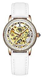 Automatic Mechanical Waterproof White Leather Strap Rhinestone Watch