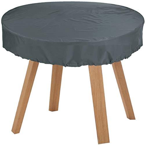 KaufPirat Premium Abdeckplane Rund Ø 165x15 cm Anthrazit Gartenmöbel Gartentisch Abdeckung Schutzhülle Abdeckhaube Outdoor Round Patio Table Cover