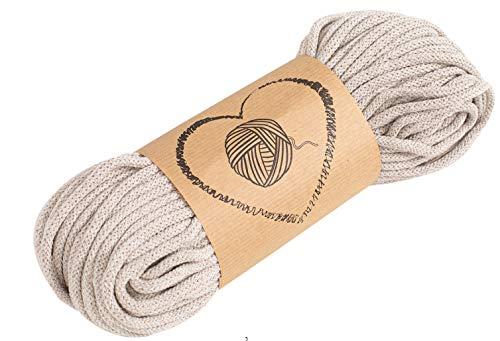 Amazinggirl Corda Intrecciata - spago per Decorazioni Filo per Braccialetti Macrame Corde 5 mm Lavorare all'Uncinetto Beige
