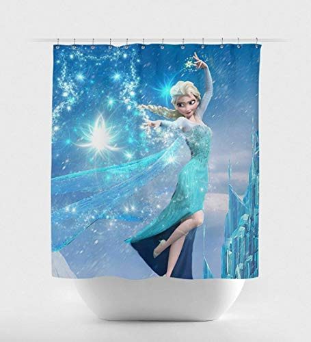 YUJEJ801 Königin ELSA Shower Curtain with Hooks Waterproof Mould Proof Resistant Bathroom Curtain Washable Bath Curtain Polyester Fabric with 12 Hooks 180x180cm Decorative Bathroom