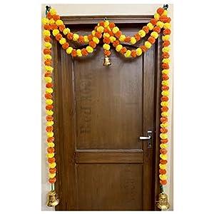 Sphinx Artificial Marigold Fluffy Flowers Garlands Door Toran Set/Door Hangings for Decoration (Approx. 100 X 152 cms) (Yellow & Dark Orange)