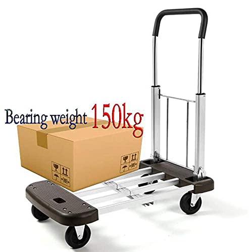 Carrito de compras ligero de 4 ruedas Carrito de compras plegable para trabajo pesado Capacidad de carga de 150 kg Camión para sacos de mano Carrito para carretilla Carrito para almacén industrial Cam