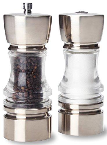 Olde Thompson Brushed Nickel Plated Crown-Pepper Mill & Salt Shaker Set, 7', Clear