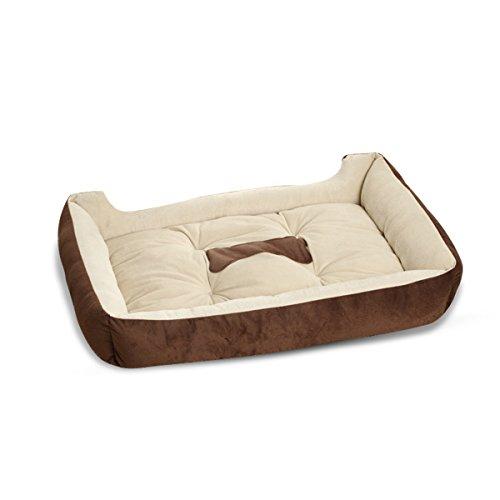 PETCUTE Camas para Perros Grandes Lavable Reforzada Camas para Mascota Colchón Gato Cojín Almohada Estera Perrera marrón