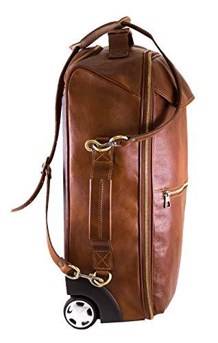 BZNA BZNA Firenze Bag Brad cognac Trolley Weekender Rollkoffer Herren Reisetasche Business Bag vegetable tanned Italy Designer Damen Handtasche Ledertasche Schultertasche Tasche Leder Neu
