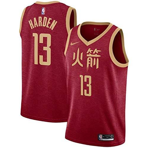 Lalagofe James Harden Houston Rockets #13 Red City Edition Chinese Basket Jersey Maglia Canotta, Swingman Ricamata, Stile di Abbigliamento Sportivo (S, City Edition Chinese)