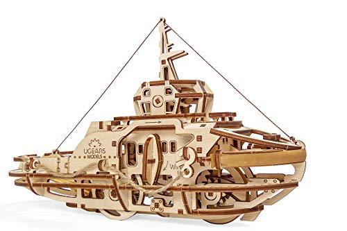 UGEARS mechanischer Schleppschiff 3D Puzzle Kit Bewegliches Schlepper Holzpuzzle Bastelset und Denkaufgabe für Erwachsen Modellbausatz aus Holz