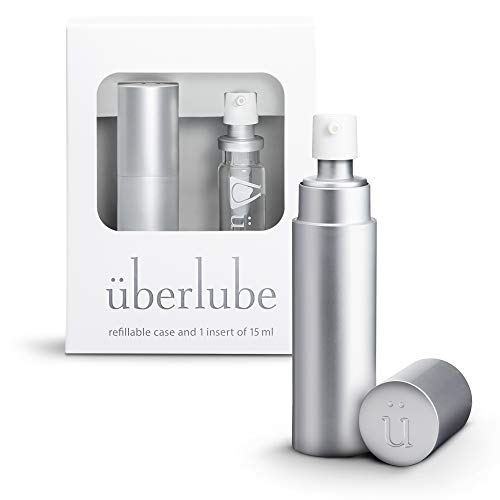Überlube Good-to-go Travel Lube | Latex-Safe Natural Silicone Lube for Sex with Vitamin E | Unscented, Flavorless, Zero Residue, Works Underwater - 15ml Silver
