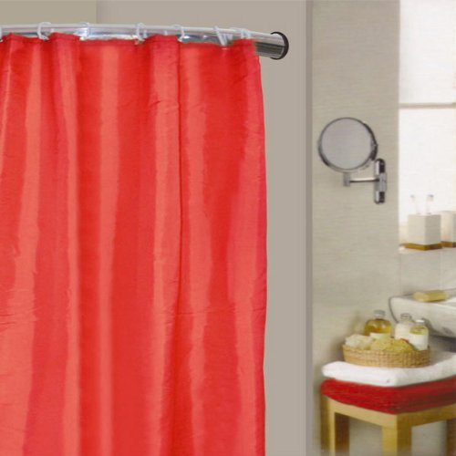 Linens Limited - Duschvorhang aus Polyester - Einfarbig - Rot - 180 x 180 cm